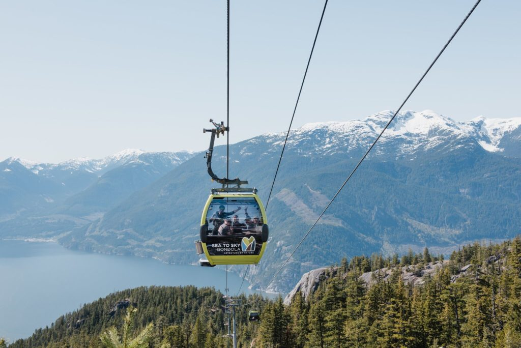 A journey like no other! Your adventure starts with our 10 minute gondola ride to 885m above sea level. The ride up to our summit provides sweeping views of Howe Sound, the majestic coastal forest and surrounding mountains. Every gondola cabin has a maximum capacity of 8 passengers and a level entrance/exit point, making them wheelchair and stroller accessible. The gondola cabins were custom-made by Swiss manufacturer, CWA and the gondola itself was manufactured by Austrian manufacturer Doppelmayr. We have comfortable padded seats and floor to ceiling glass windows for maximum views. The ride up and down is a thrilling adventure for all ages and provides new views of Shannon Falls and the famous Squamish Chief climbing area. Once at the top, many other adventures await. You will have access to a wide array of outdoor experiences including two different interpretive loop walking trails with cantilevered viewing platforms, the spectacular Sky Pilot Suspension Bridge, numerous hiking trails, rock climbing, access trails to backcountry routes and much more.